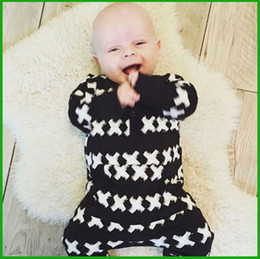 Spring Rompers Fashion Canada - top selling 2016 spring autumn baby boys girls rompers children black geometric fashion lovely outfits toddler clothing free shipping