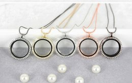 Arrivals Jewelry Korean Canada - New arrival 4 colors floating locket charms Korean version of the new open frame Locket charms 30MM Round rhinestone Pendant DIY Jewelry