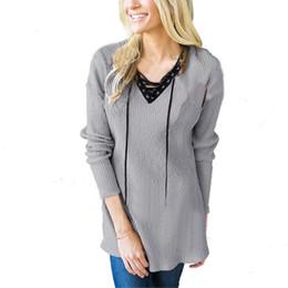 Wholesale blouse women basic for sale – plus size 2017 Autumn Women Shirts Loose Basic Pullovers Long Sleeve Blouse V neck Casual Tops Fashion Patchwork Drawstring Blusas