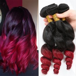 red black human hair Canada - 9a Brazilian Dark Root 1B Red Ombre Hair Extensions Loose Wave #1B Red Human Hair Weaves Weft 3Pcs Lot For Black Woman