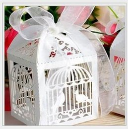 chinese box paper NZ - 2017 Free Shipping 100PCS lots Laser Cut Birdcage Wedding Favor Box in Pearlescent white paper box,party show favor box THZ223