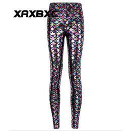 Barato Meninas Sexy Calças Brilhantes-2017 NOVO 3011 Rainbow Shiny Mermaid scale 3D Prints Sexy Girl Pencil Yoga Pants GYM Fitness Workout Polyester Mulheres Leggings Plus Size
