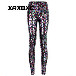 Chicas Sexy Pantalones Brillantes Baratos-2017 NUEVA 3011 Rainbow Shiny Mermaid scale 3D Prints Sexy Girl Pencil Yoga Pantalones GYM Fitness Entrenamiento Poliéster Mujeres Leggings Más El Tamaño