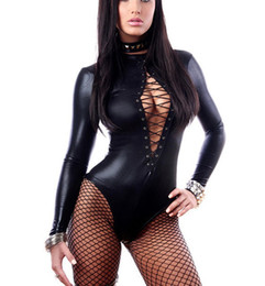 Ingrosso Pagliaccetto a maniche lunghe Tute nere per le donne Macajo Immersione Lace Up Leather Lace Playsuit 64000 Combinaison Short Femme