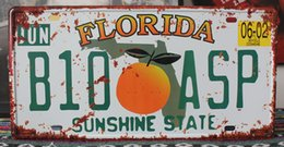 "Vintage Number Plates Australia - Wholesale- RONE0228 Car License Plates number "" Florida B10-ASP "" vintage Vintage Metal tin signs Wall art craft painting 15x30cm"
