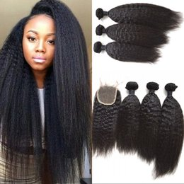 $enCountryForm.capitalKeyWord NZ - Human hair lace closure with bundles unprocessed Peruvian kinky straight hair weaves with closures 4x4 free part FDSHINE