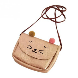 $enCountryForm.capitalKeyWord UK - Cartoon cat mini shoulder messenger bag animal printing handbag PU leather small pouch bolsa feminina for women child kids girls