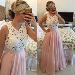 White Dresses Beaded Pearls Canada - White And Pink Prom Dresses 2017 Summer Pearls Beaded Lace Top Sleeveless Evening Gowns Chiffon Floor Length Formal Party Dresses