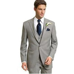 Chinese  New Custom Light Gray Slim Fit Men For Formal Groom Wedding Suit Tuxedo 3 Pieces (Jacket + Pants + Vest) manufacturers