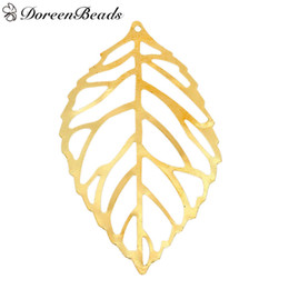 "$enCountryForm.capitalKeyWord UK - Iron Based Alloy Filigree Stamping Pendants Leaf Gold Plated Hollow 54mm(2 1 8"") x 22mm( 7 8""), 50 PCs 2016 new Free shipping jewelry making"
