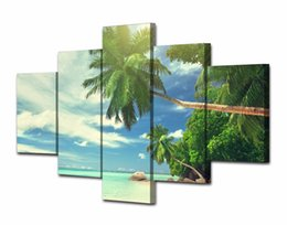canvas prints free shipping Australia - 5 Pcs Set Framed Printed Beach palm beach clouds Painting Canvas Print room decor print poster picture canvas Free shipping NY-5774