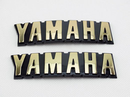 Fuel Tank Motorcycle Sticker Australia - ABS 3D Fuel Oil Tank Badge Gold Emblems Decal Sticker For Yamaha Motorcycle Pair