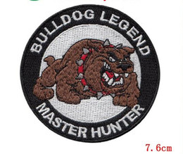 Ironing Label Canada - Fashion Lovely bulldog animal Embroidery Iron On Military Patch Applique Label Badge Wholesale Custom Are Welcome patch
