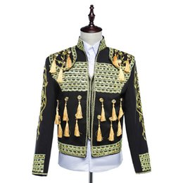 Mens Red Tuxedo Jacket Canada - Free ship mens golden embroidery red blue white black medieval jacket stage performance dance short tuxedo jacket