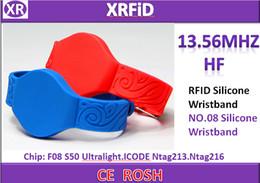 Rfid Print Canada - Watch Belt Stripe Deign BlueThin ISO14443A 13.56mhz F08 Chip Blank Silicone RFID Wristband Bracelet For Access Control Accepet Logo Printing