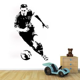 media player live NZ - Football Player Wall Sticker Argentina Soccer Sport Athlete Wall Decal Vinyl Decor for Boys Nursery Living Room Bedroom School Office