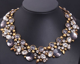 Elegant Diamond Chokers NZ - Famous Brand Deluxe Double Crystal Round Gem Necklaces Women Short Party Necklaces Lady Elegant Diamond Big Chocker Necklace Length 40cm