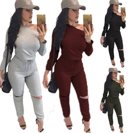 Barato Penteado Para Mulheres-New Siamese Women Inclined Shoulder Long Sleeve Rompers Solid Color Hole Lápis Calças Sexy Tight Casual Jumpsuits