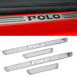 Vw Volkswagen Pedals Canada - Volkswagen Vw Polo Stainless Steel Scuff Plate Door Sill Strip Welcome Pedal for 2009 2010 2011 2012 Vw Polo Car Accessories