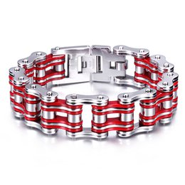 $enCountryForm.capitalKeyWord NZ - Cool Men's Classical Design 23mm 316L Stainless Steel Motorcycle chain Biker Bracelet Silver Red For Holiday Gifts