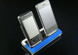 2 Bandejas Acrílicas de telefone celular MP3 titular do produto rack de exibição de desktop display digital stand suporte do telefone rack