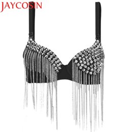 21c728c06 Hot Bras for Women New Punk Goth Silver Studded Bra crop top Party All-over  Spike Rivet Tassels Metallic Punk Bra WAug16