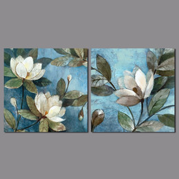 blue wall art picture Australia - 2pcs set flower picture decoration blue Canvas Painting white flowers green leaves pattern wall Art living room print unframed