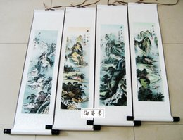 chinese calligraphy paintings NZ - freeshipping Four seasons landscape landscape Chinese calligraphy and painting Scroll painting The study of childrenroom decoration painting