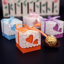 Wholesale Boxes Packaging Australia - Wholesale- 10 pcs Love Heart Shaped Wedding Decoration Favor Candy Gift Box Small Ribbon Handmade Chocolate Paper Packaging Boxes Bag PB014