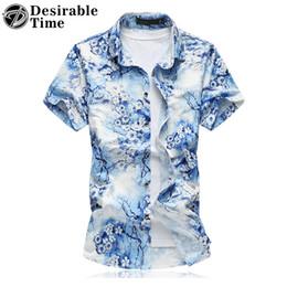 $enCountryForm.capitalKeyWord Canada - Wholesale- 2017 Summer Style Mens Short Sleeve Shirts Big Sizes 6XL 7XL Shiny Gold Mens Hawaiian Floral Shirt DT483