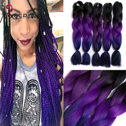 PurPle synthetic hair online shopping - hot Purple Braiding Hair High Temperature Fiber expression braiding hair g ombre Two Tone synthetic braiding hair Extensions