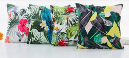 Discount tropical print - Hawaii Tropical Floral Printed Zipper Pillowcase Square Simulation Silk Digital Printing Pillow Case New Arrivel Cushion