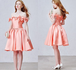 $enCountryForm.capitalKeyWord Canada - 2016 Peach Short Prom Party Dresses A Line Knee Length Back Lace up Bow Cute homecoming Gowns Vestidos de Fiesta