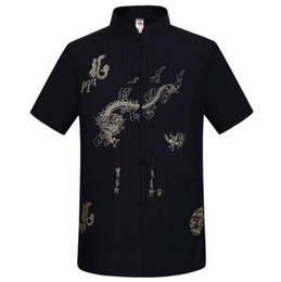 Wholesale traditional chinese shirt red resale online - Navy Blue Traditional Chinese Men s Embroidery Dragon Shirt Summer Cotton Linen Kung fu Tai Chi Shirt M L XL XXL XXXL MS054