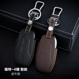 $enCountryForm.capitalKeyWord NZ - 100% Genuine Leather Car Key Case Cover 4 Buttons Smart For 2015 Ford Taurus Car Key Holder Bag Car Key Accessorie