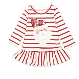 Jupes De Noel Pour Filles Pas Cher-Baby Girls Robes de Noël Santa Claus Striped Long Sleeve Tops Robe Jupe courte New Kids Clothing Factory Gratuit DHL 389