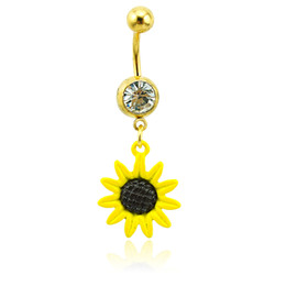 Yellow resin buttons online shopping - Brand New Belly Button Rings L Stainless Steel Dangle Yellow Resin Flower Navel Rings Piercing Jewelry