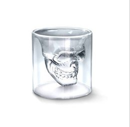 Crystal skull beer mug online shopping - Skull wine glass crystal skull beer mug personalized bar creative double transparent glass Cocktail Cup Skeleton cup