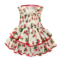 $enCountryForm.capitalKeyWord Canada - 2016 Summer Sweet Children Baby Girls Strapes Dresses Strawberry Print Tunic Elastic Princess Party Dress Clothing K7510