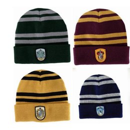 China Quality Harry Potter Beanie Gryffindor Slytherin Skull Caps Hufflepuff Ravenclaw Cosplay Costume Caps Striped School Winter Fashion Hats cheap red cosplay hat suppliers