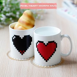 heat sensitive coffee mugs Canada - DHL shipping free 48pcs Valentine's Day gifts pixel heart morph ceramic heat sensitive color changing coffee mug tea cups
