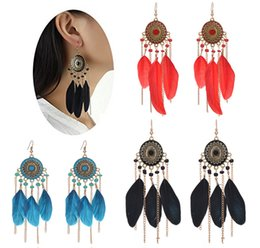 Bohème Élégant Pas Cher-Fashion Feather Drop Dangle Boucles d'oreilles Tassel Vintage Retro Bohemian Earrings Elegant Jewelry For Women Girls 3 Color B671L