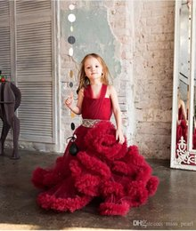 Barato Linda Linha Halter Chão-Lovely Flower Girl Dresses Vestido Halter Ruffle Girls Pageant Vestido Custom Made Floor Length Christmas barato