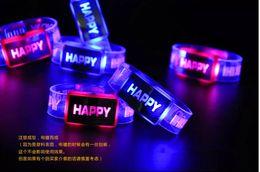 Glow bracelet watch online shopping - Happy happy colorful flash watch band wrist strap night running lights glow bracelets bracelet toy bar
