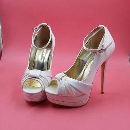 3ba108bf3351 Elegant Ivory Satin Wedding Shoes Peep Toe Ankle Straps Platform Bridal  Sandals For Women Plus Size US14 Stilettos High Heels Custom Made