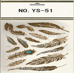 $enCountryForm.capitalKeyWord Canada - Feather Design 1Sheet Flash Tattoo Gold Temporary Tattoos Glitter Stickers Sexy Products Paper For Women&Men tatuagem metalica HJIA655