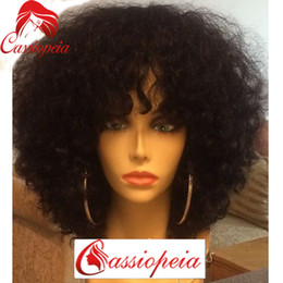 best hair wigs for black women Canada - 8A Grade Malaysian Afro Kinky Curly Short Human Hair Bob Wigs For Black Women Best Guless Short Curly Lace Wigs with Bamgs