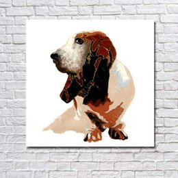 Cheap Decorative Canvas UK - Realistic dog picture for wall decoration decorative new design animal oil painting cheap modern canvas art
