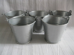 wholesale galvanized buckets pails NZ - D5.5*H5CM Metal Pail tin bucket pots Grey Flower Pots for air plant Iron Succulent Pots for Wedding