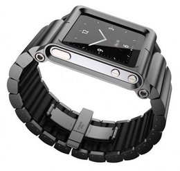 Wholesale Black Silver Aluminum Multi Touch Wrist Watch Band Strap for Apple iPod Nano th generation